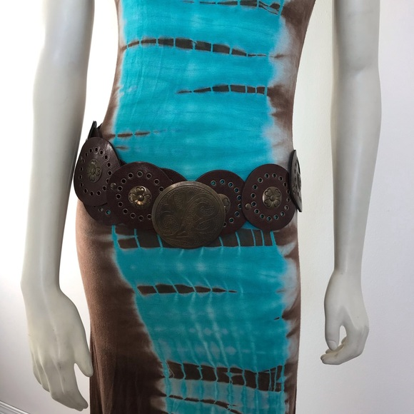Leather & brass adjustable belt